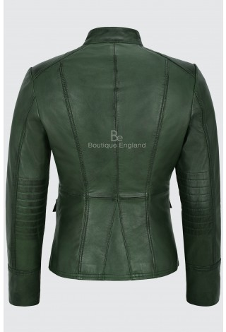 Ladies Leather Jacket Green Victory Military Parade Style Real Lambskin 8976