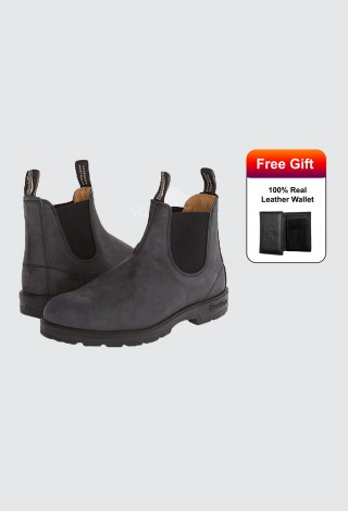 Blundstone Style 587 Chelsea Boots Rustic Black Nubuck Leather Australian Boots
