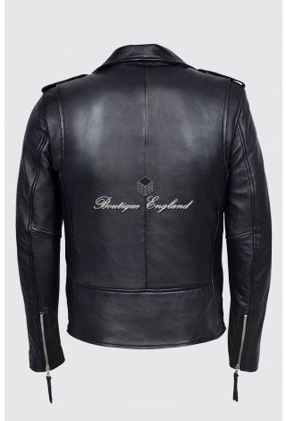 Slim Fit BRANDO Fitted Mens Black Classic Motorcycle Biker Sheep Real Leather Jacket SR-MBF