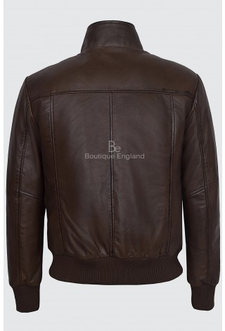 Men's 70's Leather Jacket Brown Quilted Retro Bomber Style Lambskin Leather 4757