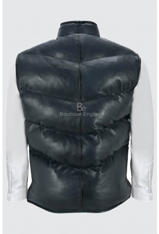 Men's Puffer Navy Waist Coat Warm Soft Lamb Leather Quilted Pleasure Shell Vest Gilet