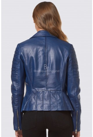 New Ladies  Blue Fashion Designer Biker Style Real Soft Lambskin Leather Jacket 9334