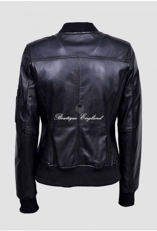 Ladies 2546 Black Stylish Bomber Fashion Designer Soft Napa Real Leather Jacket
