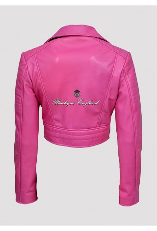 Missy Ladies 5625 Pink Short Fashion Fitted Biker Soft Napa Goth Leather Jacket