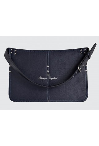 REAL LEATHER MARKET TRADERS CASH BAG NAVY SHOULDER STRAP BELT ZIP
