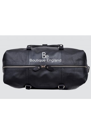 HOLDALL  Black Deluxe Large Weekend Duffle Travel Gym Real Genuine Leather Bag (S-0033)