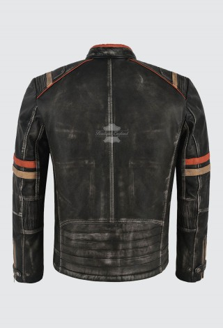 Men's Real Lambskin Leather Jacket Black Vintage Biker Motorcycle Style 2633