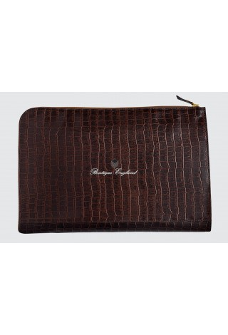 Deluxe 4550 Brown Croc Print Real Leather Under Arm Folder Document Holder Case