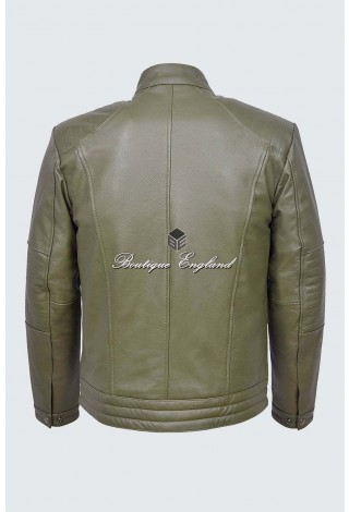 Men's Fielder Khaki Green Cool Retro Biker Style Motorcycle Cowhide Leather Jacket