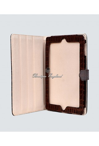 i-PAD Brown Croc 2 3 & 4 Print Luxury Real Genuine Leather Cover Case Stand