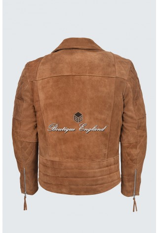 RECKLESS Mens 233 Tan Suede Biker Style Motorcycle Real Luxury Leather Jacket
