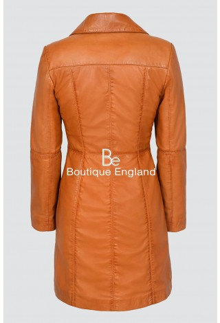 TRENCH Ladies 3457 Tan Classic Knee-Length Designer Real Nappa Leather Jacket Coat