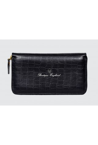 Luxury Ladies Purse P-432 Black Croc Print Real Genuine Leather Card Holder Pouch