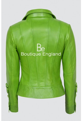 SUPERMODEL Ladies 4110 Parrot Green Biker Style Designer Real Nappa Italian Leather Jacket