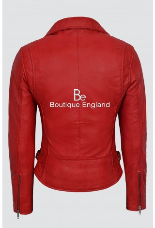 'Ashes to Ashes' Ladies 2100 Red Slim fit Fashion Designer Real Lamb Leather Jacket