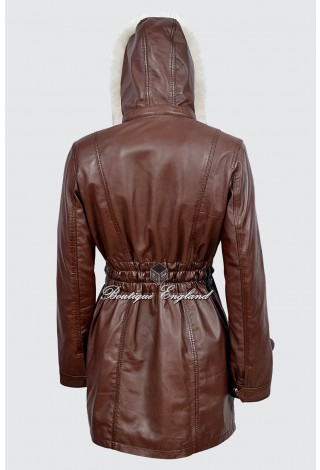 SYLVIA Ladies Alice Brown Classic SYLVIA MidLength Fur Collar Real Leather Jacket Coat