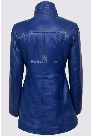 Ladies BLUE Gothic Style Fitted Real Lambskin Leather Jacket Coat 1310