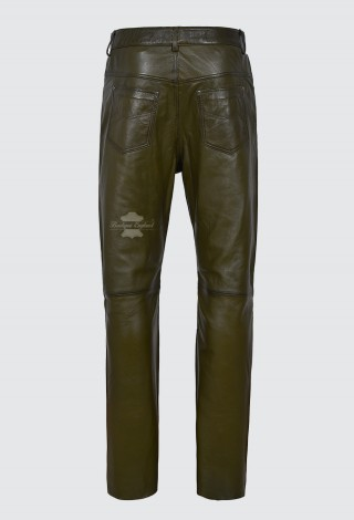 Men's Leather Trouser Motorcycle Olive Green Lambskin Leather Jean Style 501