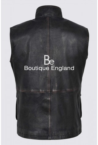 Men's Rouge Black Rub Off Distressed Stylish Real Soft Lambskin Leather Waistcoats