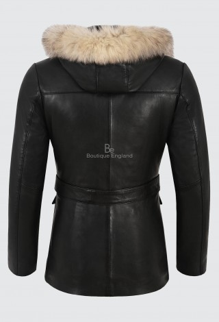 Ladies Parka Leather Jacket Black Fur Hooded Classic Fashion Real Lambskin 5788
