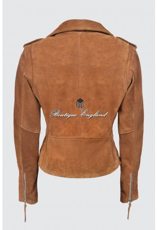 CLASSIC BRANDO Ladies MBF Tan Suede Leather Biker Style Motorcycle Cruiser Jacket