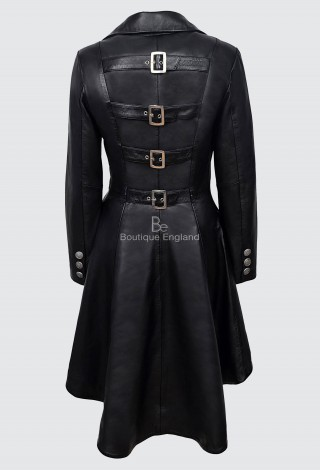 EDWARDIAN LADIES Black REAL LEATHER JACKET LAMBSKIN BACK BUCKLE GOTHIC COAT 3491