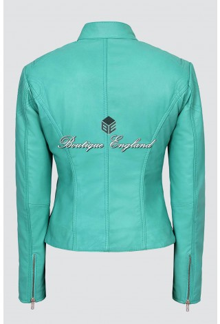 Ladies TURQUOISE Cool Retro Biker Style Fitted Motorcycle Leather Jacket SR-01