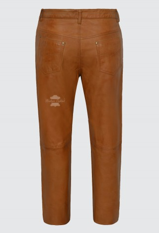 Men's Leather Trouser TAN Motorcycle Style | 100% SOFT NAPA LEATHER Jean Style 501