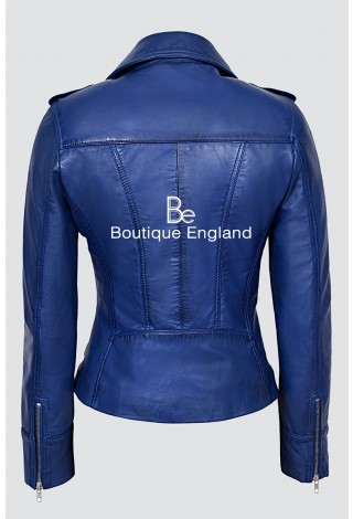 'RIDER' Ladies Blue Napa Biker Motorcycle Style Real Italian Leather Jacket 9823