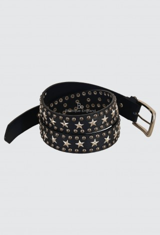 Men's Real Leather Belts Star studded Cowhide Strong Punk Rock Gothic Style 630