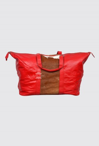 Leather Holdall Travel Weekend Duffle Bag Sports Gym Handbag Red Cow Fur Patch