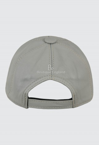 Leather Light Grey Baseball Cap Adjustable Strap Peak Hat Unisex Trucker Hip-hop Lambskin