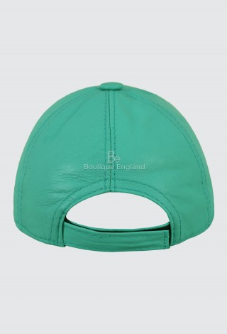 Leather Turquoise Baseball Cap Adjustable Strap Peak Hat Unisex Trucker Hip-hop Lambskin