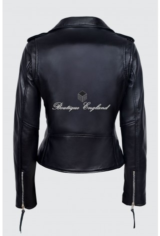 CLASSIC BRANDO Ladies MBF Black Napa Leather Biker Style Motorcycle Cruiser Jacket