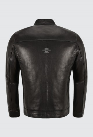 ELEGANT Men's Leather Jacket Semi Veg Tanned Black Casual Italian Lambskin Jacket M-52