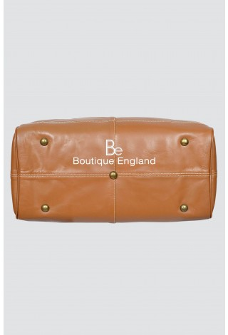 HOLDALL Large Weekend Tan Duffle Travel Gym Real Genuine Leather Bag