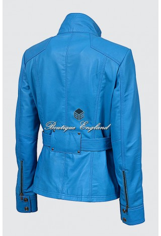 Ladies 1160 Electric Blue Slim Fit Soft Leather Jacket Casual Military Collar Rock
