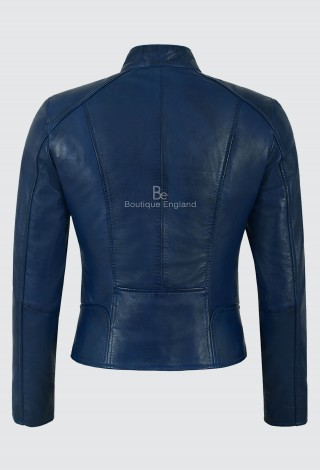 Ladies Real Leather Blue Napa Jacket Fashion Stylish Biker Style 100% LEATHER 9213