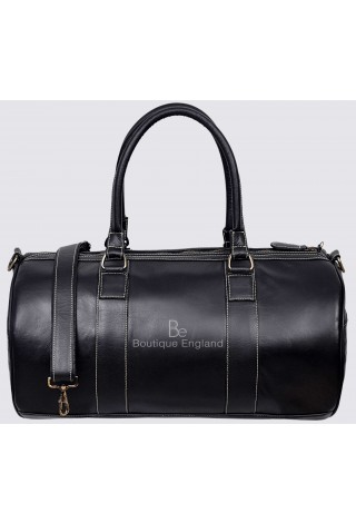 Men's Leather Weekend Bag Black Duffel Travel 100% Genuine Glaze Holdall 9098