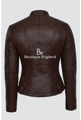 SPEED Ladies 8322 Brown Fashion Cool Retro Biker Style Motorcycle Leather Jacket