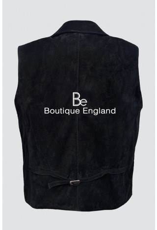 'EDWARDIAN' Men's 3281 BLACK Suede Steam Punk Victorian Cow Leather Waistcoat