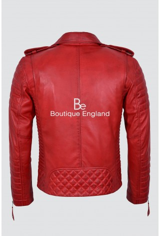 Men's New brando 2250 Red biker style Quilted soft real Napa Leather Jacket