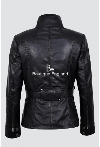 New Ladies 1160 Black Slim Fit Soft Leather Jacket Casual Military Collar Rock