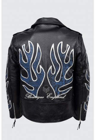 BRANDO SLIM FIT Men's MBF Blue Flame Cowhide Designer Real Leather Biker Jacket