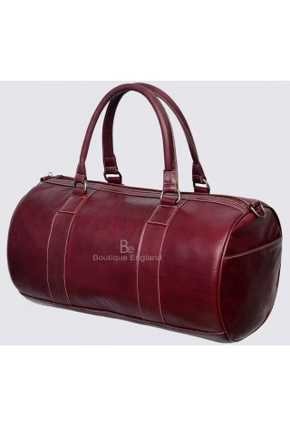 Men's Leather Weekend Bag Cherry Duffel Travel 100% Genuine Glaze Holdall 9098
