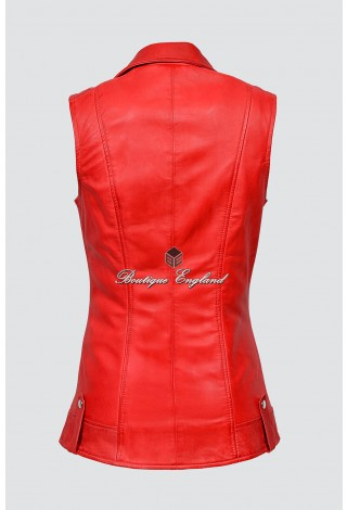 Ladies Red Brando Waistcoat Punk Biker Style Motorcycle Leather Jacket 6385