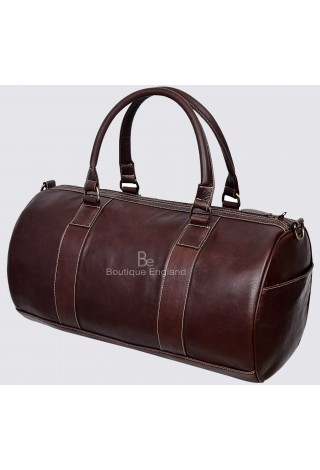 Men's Leather Weekend Bag Brown Duffel Travel 100% Genuine Glaze Holdall 9098
