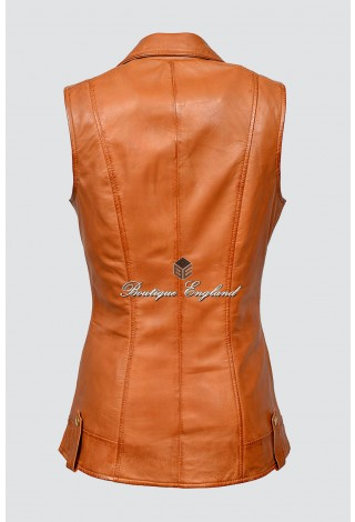 Ladies Tan Brando Waistcoat Punk Biker Style Motorcycle Leather Jacket 6385