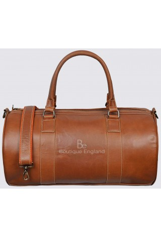 Men's Leather Weekend Bag Tan Duffel Travel 100% Genuine Glaze Holdall 9098