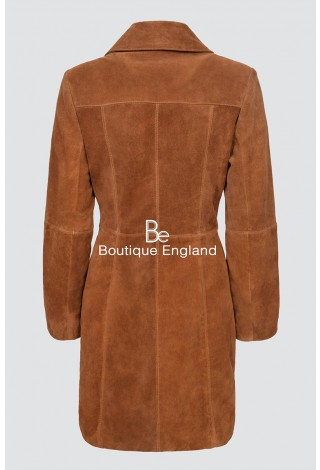 Elegant 3457 Tan Suede Soft Leather Smart Comfort Neat Fit Trench Knee Length Jacket